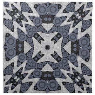 White Blue Wavy Abstract Napkin