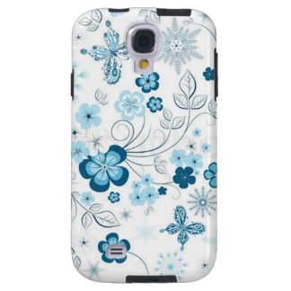 White Blue Winter Snowflakes Flowers Butterflies Galaxy S4 Case