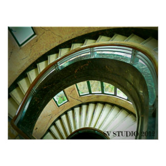 White Boat House StairCase Poster