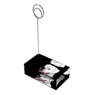 White Boxer dog Table Card Holder