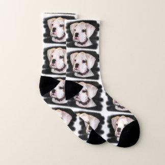 White Boxer puppy dog socks 1