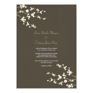 White Brown Sakura Cherry Blossoms Wedding Invite