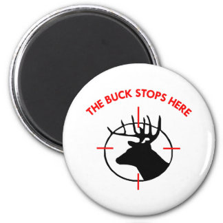 White Buck Stops Here1 6 Cm Round Magnet