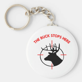 White Buck Stops Here1 Basic Round Button Key Ring