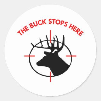 White Buck Stops Here1 Round Sticker