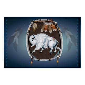 White Buffalo Shield-blue Posters