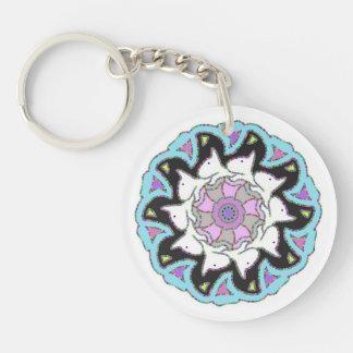 White Bull Terrier Pink/Blue Symmetrical Design Key Ring