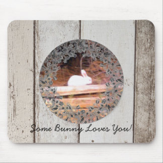 White Bunny/ Some Bunny Loves You! Mousepad