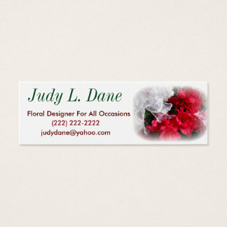 white business card floral with bow