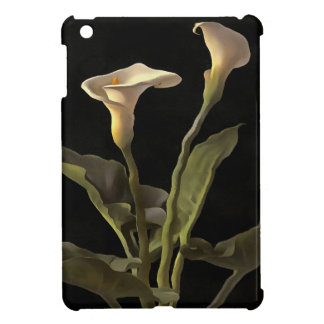 White Calla Lilies On A Black Background Case For The iPad Mini