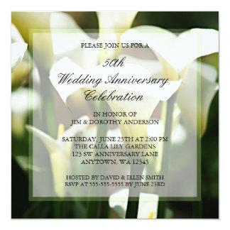 White Calla Lily 50th Wedding Anniversary 13 Cm X 13 Cm Square Invitation Card