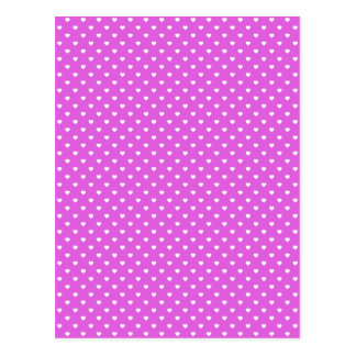 White Candy Polkadot Hearts on Lilac Postcard