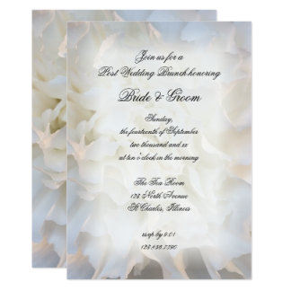 White Carnation Floral Post Wedding Brunch Invite