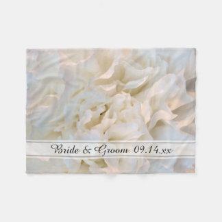 White Carnation Floral Wedding Fleece Blanket