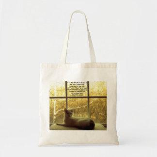 White Cat & Gandhi Compassion Quote Tote Bag