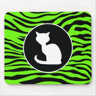 White Cat on Bright Neon Green Zebra Stripes Mousepads