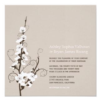 White Cherry Blossoms Sakura Swirls Wedding Invite