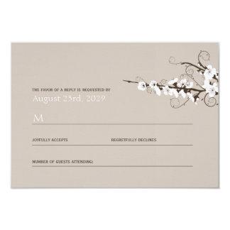 White Cherry Blossoms Sakura Swirls Wedding RSVP 9 Cm X 13 Cm Invitation Card