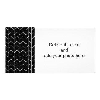 White Chevron Black Background Modern Chic Photo Card