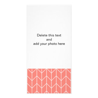 White Chevron on Coral Pink Modern Chic Customized Photo Card