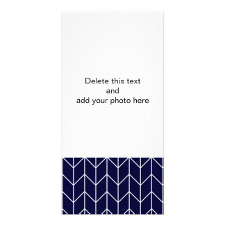 White Chevron on Navy Blue Modern Chic Custom Photo Card