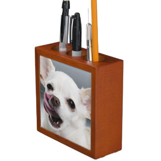 White Chihuahua licking lips Desk Organiser