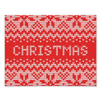 White Christmas Abstract Knitted Pattern Photo Print
