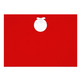 White Christmas Pudding on Red Custom Invite