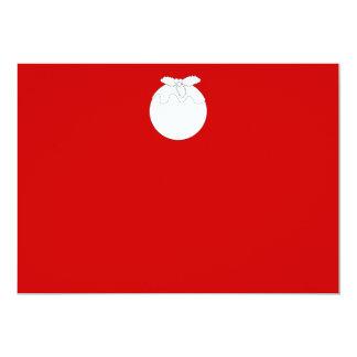 White Christmas Pudding, on Red. Custom Invite