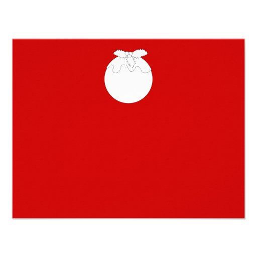 White Christmas Pudding, on Red. Invitations