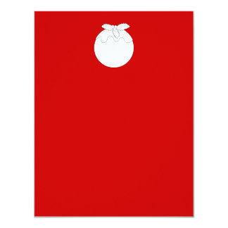 White Christmas Pudding, on Red. 11 Cm X 14 Cm Invitation Card
