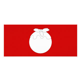 White Christmas Pudding on Red Personalized Announcements