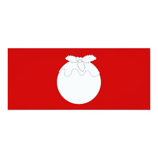 White Christmas Pudding, on Red. Personalized Announcements