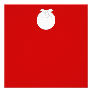 White Christmas Pudding on Red Custom Announcements