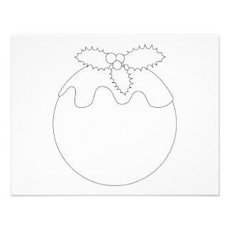 White Christmas Pudding. Simple Black Line. Custom Invites