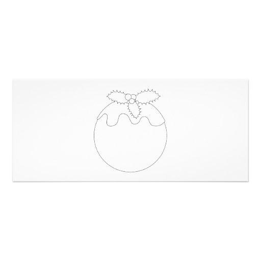 White Christmas Pudding. Simple Black Line. Custom Announcement