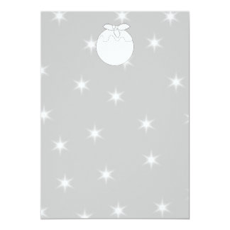 White Christmas Pudding with Stars. 13 Cm X 18 Cm Invitation Card