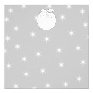 White Christmas Pudding with Stars Announcements