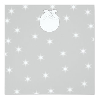 White Christmas Pudding with Stars. 13 Cm X 13 Cm Square Invitation Card