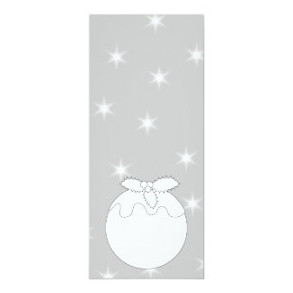 White Christmas Pudding with Stars. 4x9.25 Paper Invitation Card