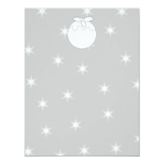 White Christmas Pudding with Stars. 11 Cm X 14 Cm Invitation Card