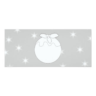 White Christmas Pudding with Stars. 10 Cm X 24 Cm Invitation Card
