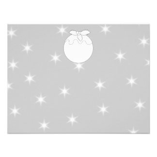 White Christmas Pudding with Stars Custom Announcements