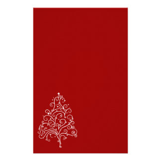 White Christmas Tree on Red Holiday Stationery