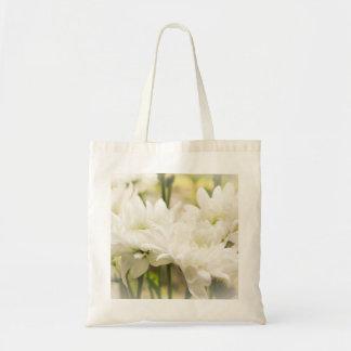 White Chrysanthemum Flowers Budget Tote