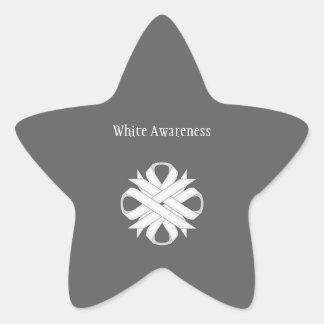 White Clover Ribbon Star Sticker