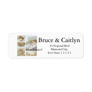 White collage engagement announcement return address label