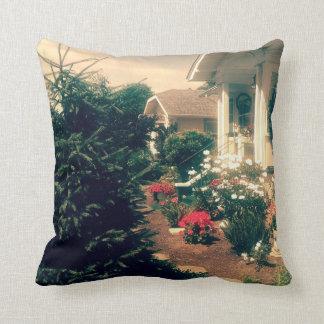White cottage home garden throw cushion