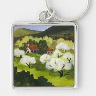 White Country Church Key Ring