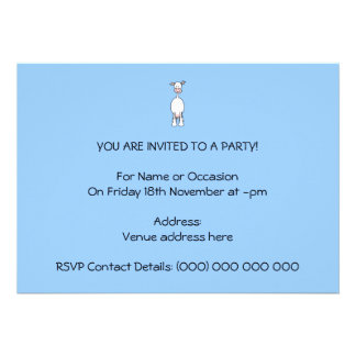 White Cow Cartoon. Blue background. Personalized Announcements